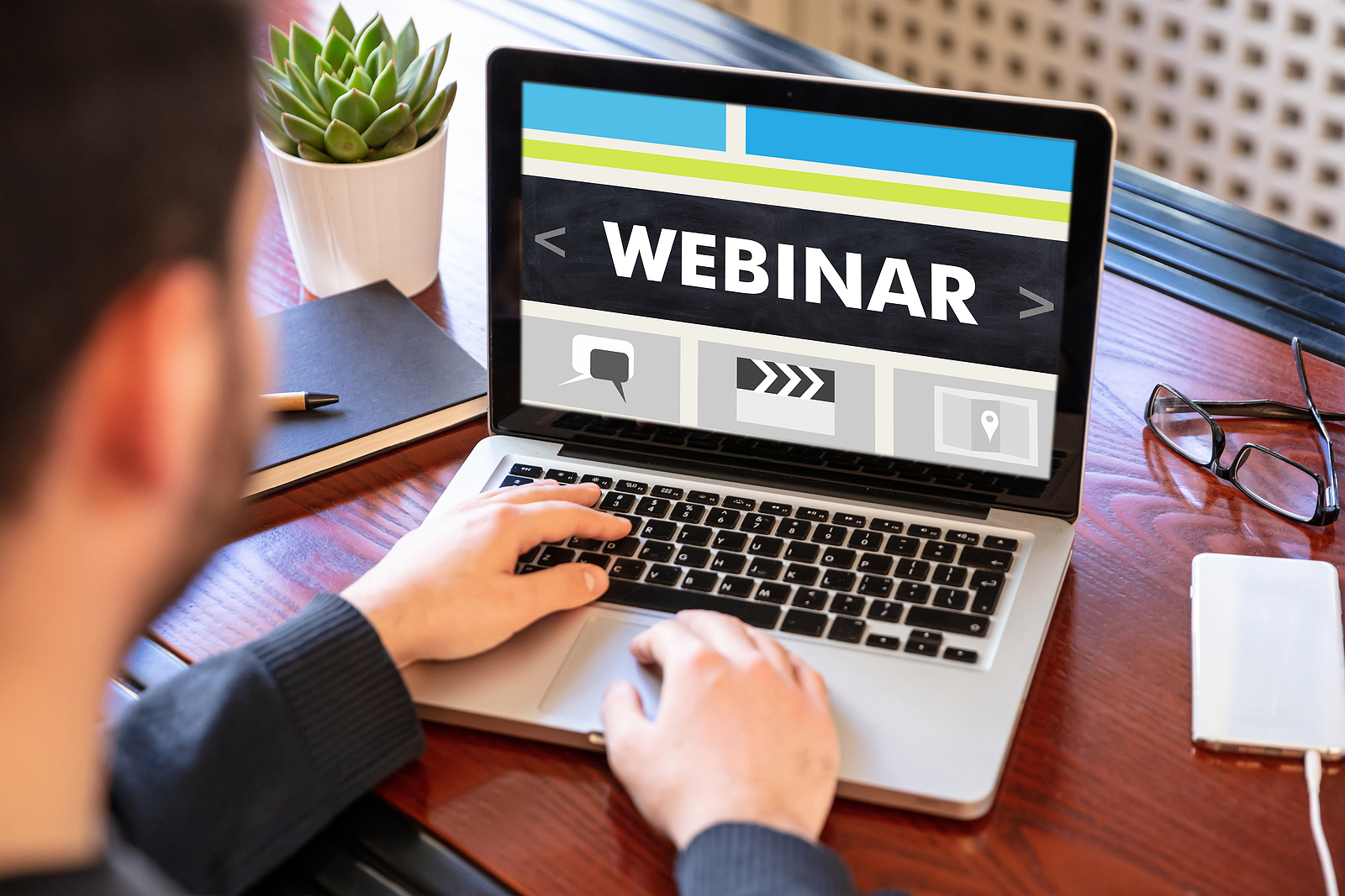Man taking part in a webinar